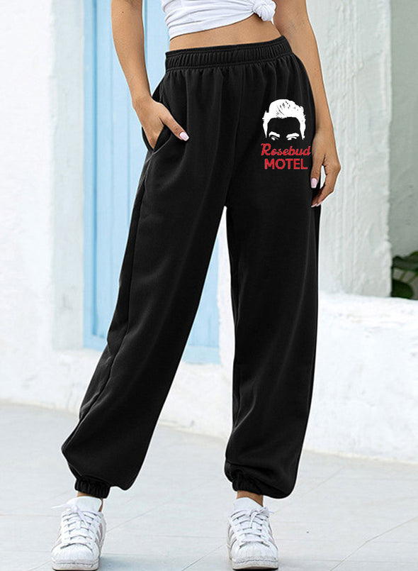 Black Women's Joggers Letter Straight High Waist Full Length Pocket Daily Joggers LC771546-2