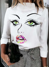 White Women's Pullovers Abstract Portrait Long Sleeve Stand Neck Daily Pullover LC2516350-1