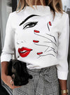 White Women's Pullovers Abstract Portrait Long Sleeve Stand Neck Daily Pullover LC2516350-101