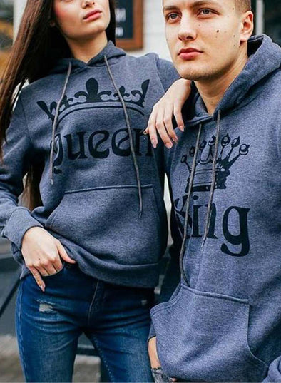Gray Couple's Hoodies Solid Pocket Drawstring Gray King & Queen Hoodies LC25075-11