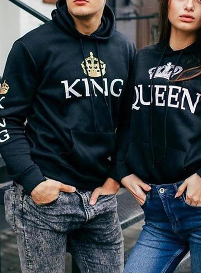 Black Couple's Hoodies Color Block Pocket Drawstring Gray King & Queen Hoodies LC25098-2