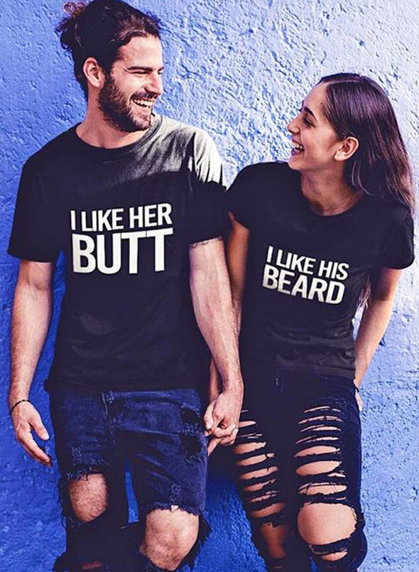 Black Couple's T-shirts Solid Letter Round Neck Short Sleeve Casual Daily T-shirts LC25100-2