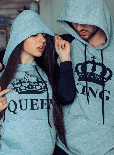 Gray Couple's Hoodies Color Block Pocket Drawstring Gray King & Queen Hoodies LC25104-11