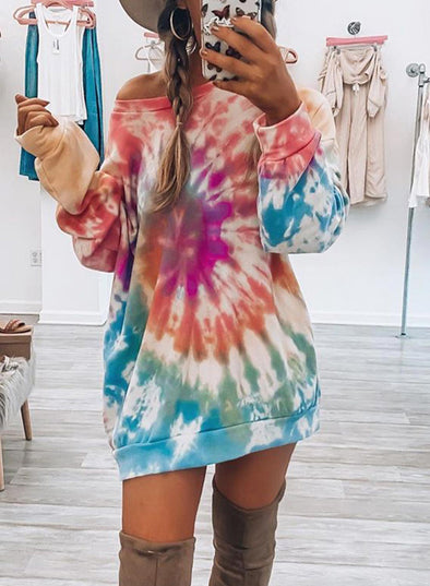 Purple Women's Pullovers Multicolor Tiedye Long Sleeve Cold-shoulder Daily Tunic Pullover LC2537371-8