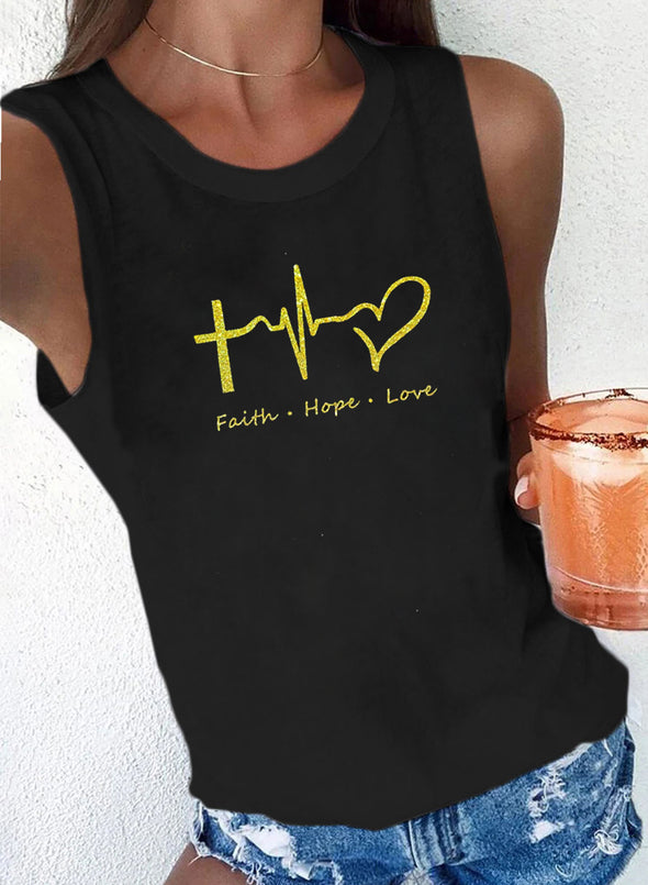 Black Women's Tank Tops Solid Heart-shaped Letter Summer Sleeveless Round Neck Basic Tops LC2561034-2