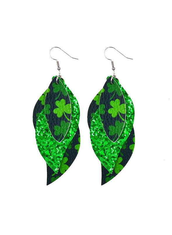 Green Women's Earrings Saint Patrick's Day Sequins Stylish Casual Earrings LC011276-9