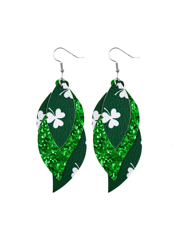 Green Women's Earrings Saint Patrick's Day Sequins Stylish Casual Earrings LC011276-109