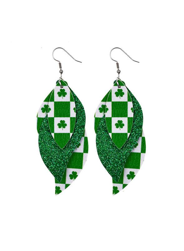 Green Women's Earrings Saint Patrick's Day Sequins Stylish Casual Earrings LC011276-209