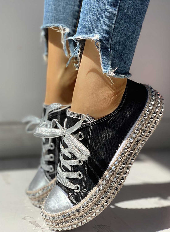 Black Women's Sneakers Leopard Lace Canvas Flat Daily Casual Sneakers LC121016-2
