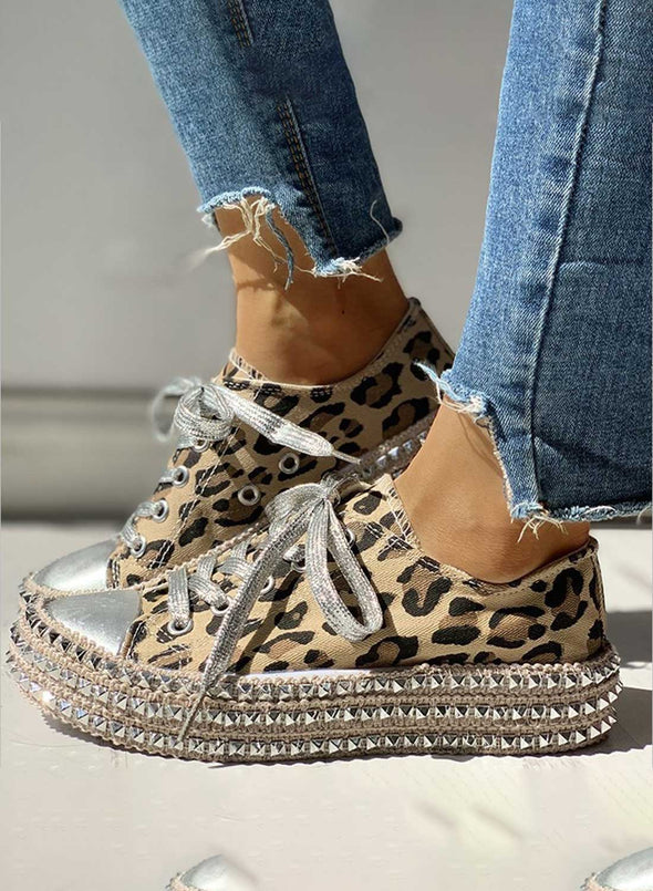 Leopard Women's Sneakers Leopard Lace Canvas Flat Daily Casual Sneakers LC121016-20