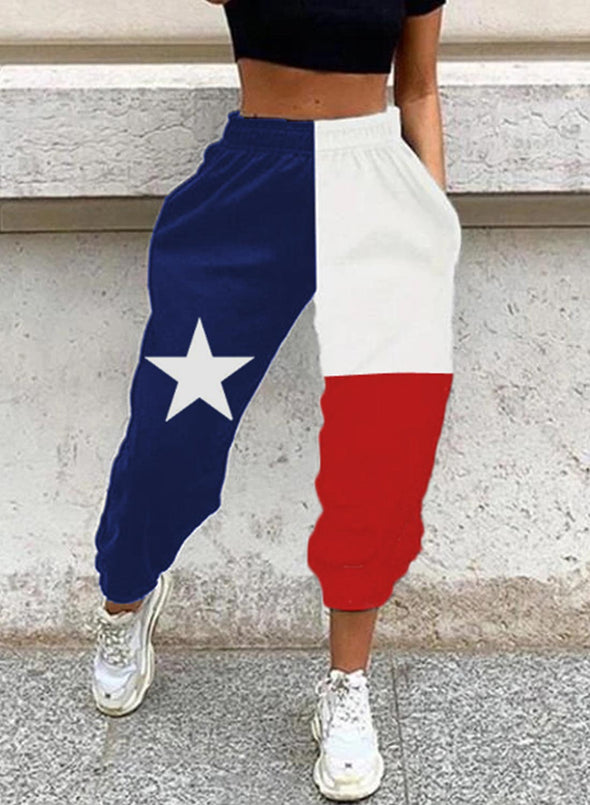 Multicolor Women's Joggers Color Block Flag Festival High Waist Daily Pocket Jogger LC771565-22