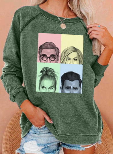 Green Women's Pullovers Portrait Color Block Round Neck Long Sleeve Casual Pullovers LC2537323-9