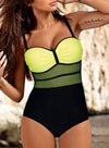 Green Women's One-Piece Swimsuits Color Block Sleeveless Unadjustable Wire-free V Neck Sexy One-Piece Swimsuit LC44600-9
