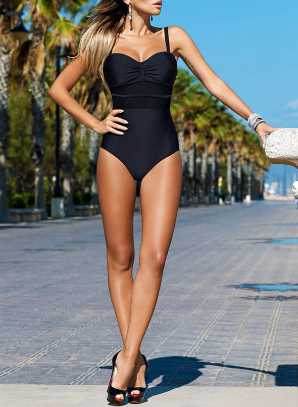 Black Women's One-Piece Swimsuits Color Block Sleeveless Unadjustable Wire-free V Neck Sexy One-Piece Swimsuit LC44600-2