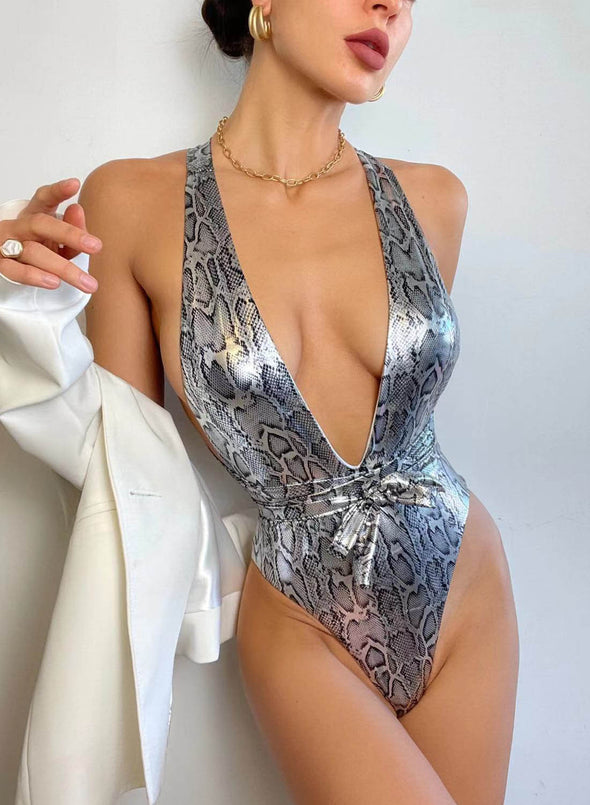 Silver Women's Swimsuits Animal Print Padded Sleeveless Unadjustable V Neck Sexy1-piece Swimsuit LC44594-13