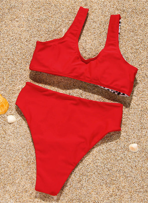 Red Women's Bikinis Solid Leopard Color Block Mid Waist Unadjustable Wire-free Sleeveless U Neck Sexy Bikini Sets LC43813-3