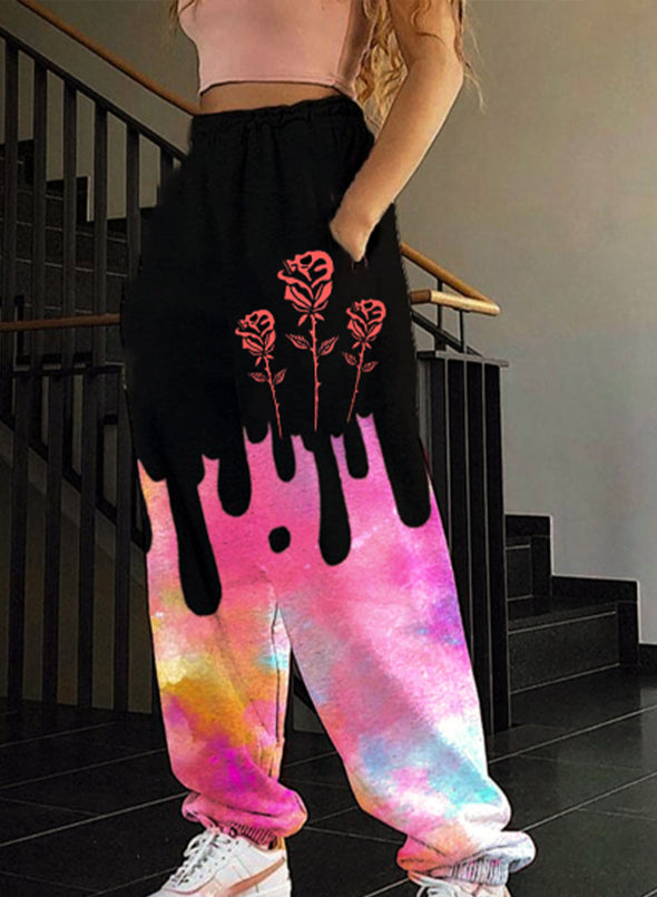 Pink Women's Joggers Color Block Floral Straight Mid Waist Full Length Pocket Casual Joggers LC771618-10