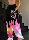 Pink Women's Joggers Color Block Floral Straight Mid Waist Full Length Pocket Casual Joggers LC771619-10