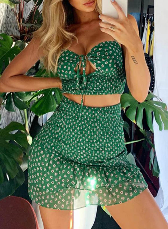 Green Women's Two-Piece Dresses Floral Sleeveless Spaghetti Vacation Ruffle Knot Sexy Mini Two-Piece Sets LC63365-9