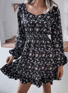 Black Women's Mini Dresses Floral Fashion Long Sleeve Ruffle Date Dress LC224996-2