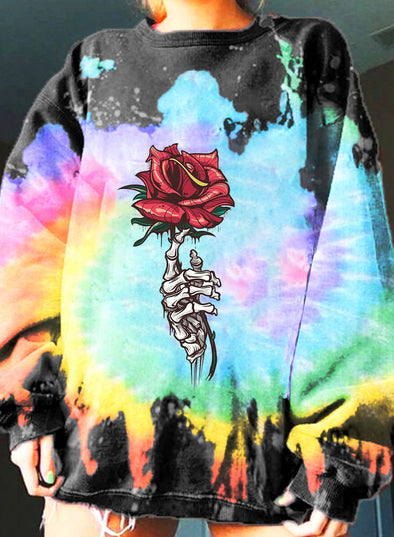 Multicolor Women's Sweatshirts Floral Color Block Tiedye Long Sleeve Round Neck Stylish Casual Sweatshirt LC2537618-22