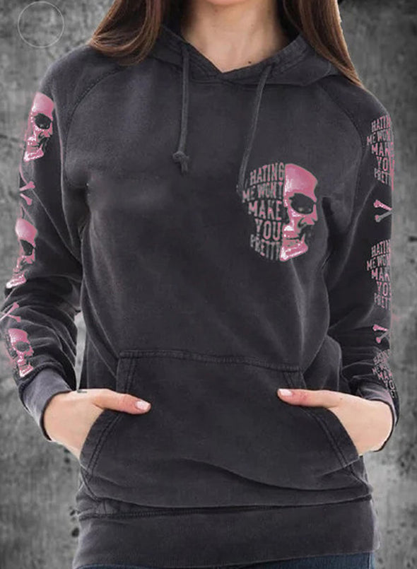 Pink Women's Hoodies Skull Portrait Letter Round Neck Daily Vintage Hoodie LC2537625-10