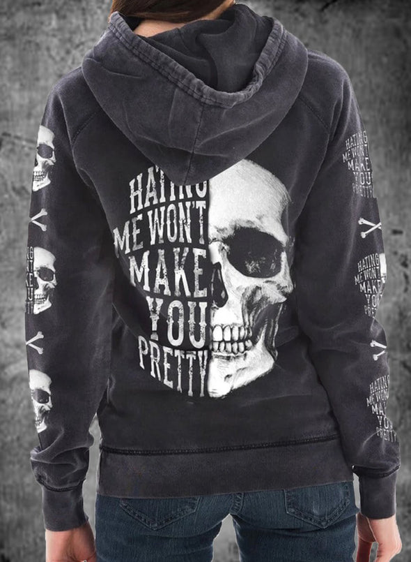 White Women's Hoodies Skull Portrait Letter Round Neck Daily Vintage Hoodie LC2537625-1