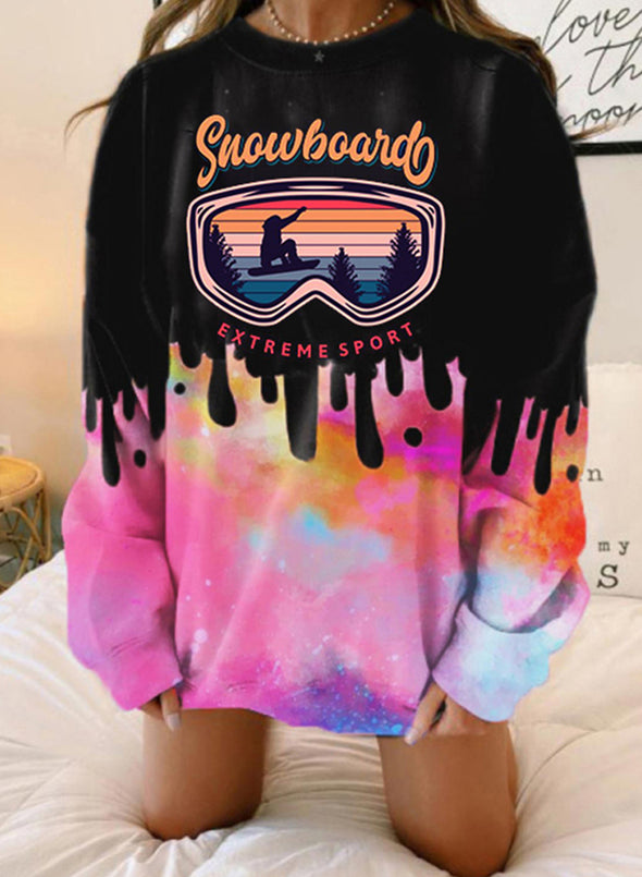 Pink Women's Sweatshirts Letter Color Block Print Long Sleeve Round Neck Casual Sweatshirt LC2537631-10