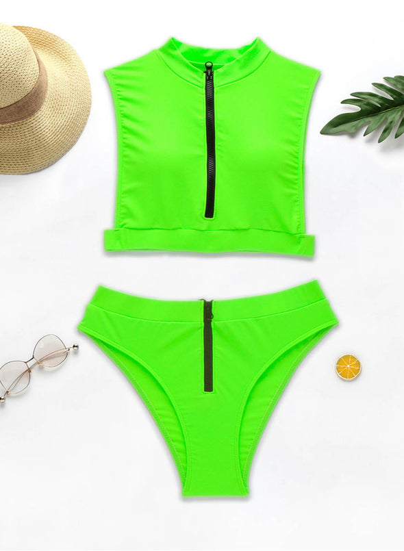 Green Women's Bikinis Solid Fluorescent Sleeveless Unadjustable High Neck Padded Vacation Sexy Bikini LC43798-9