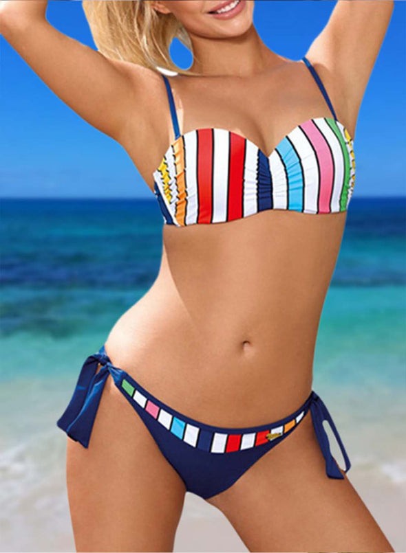 Blue Women's Bikinis Striped Color Block Sleeveless Adjustable Wire-free Spaghetti Vacation Sexy Bikini LC43841-105