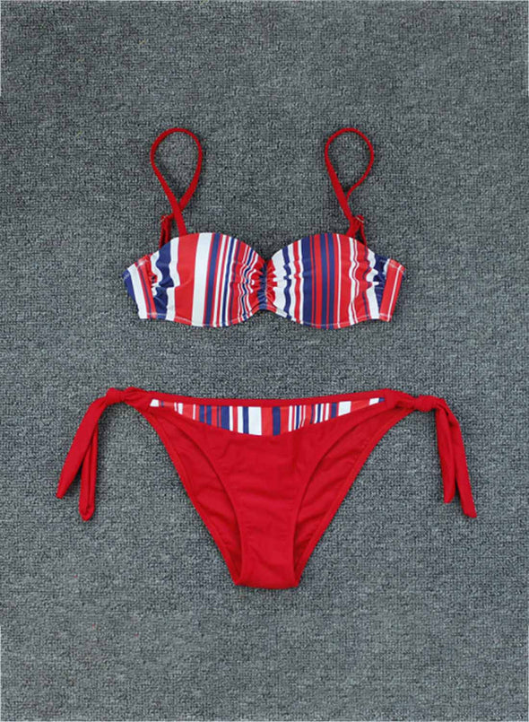 Red Women's Bikinis Striped Color Block Sleeveless Adjustable Wire-free Spaghetti Vacation Sexy Bikini LC43841-103