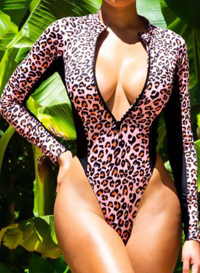 Leopard Women's Swimsuits Leopard Crew Neck Long Sleeve Unadjustable Wire-free Padded Zip Casual One-piece Suit LC44629-20