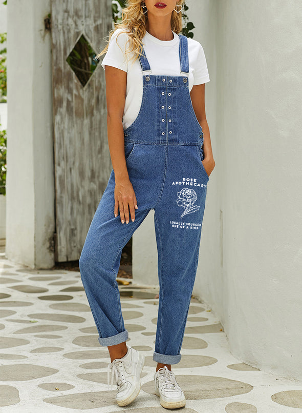 Blue Women's Jumpsuits Straight Solid High Waist Button Pocket Casual Jumpsuits LC642003-5