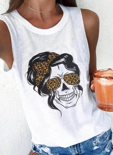 White Women's Tank Tops Leopard Portrait Sleeveless Round Neck Casual Daily Tank Top LC2561268-1