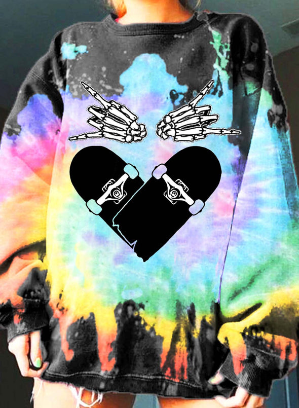 Multicolor Women's Sweatshirts Color Block Heart-shaped Print Long Sleeve Round Neck Casual Sweatshirt LC2537699-22