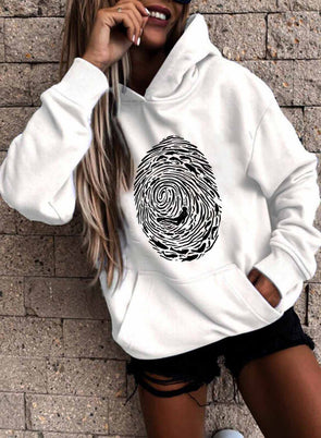 White Women's Hoodies Color Block Long Sleeve Daily Pocket Hoodie LC2537702-1