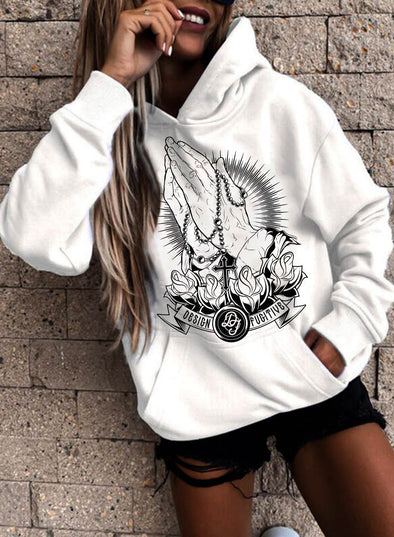 White Women's Hoodies Letter Color Block Long Sleeve Pocket Hoodie LC2537750-1