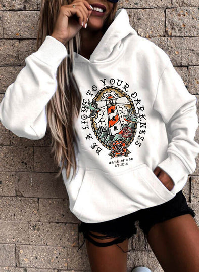 White Women's Hoodies Letter Color-block Long Sleeve Pocket Hoodie LC2537752-1