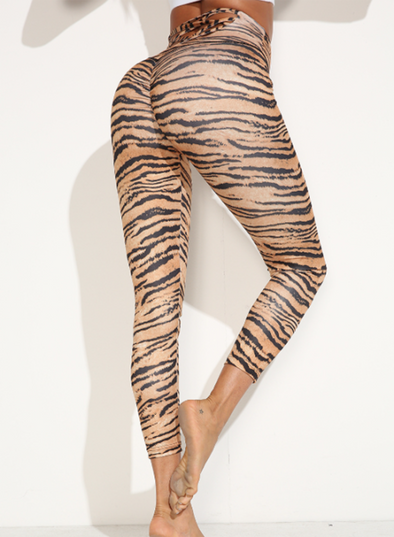 Brown Women's Leggings Slim Leopard High Waist Daily Casual Track Pants LC263526-17