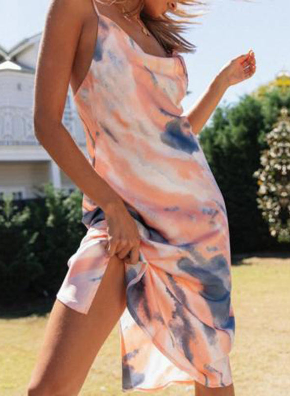 Pink Women's Maxi Dresses Split Color Block Tiedye Sleeveless Shift U Neck Party Sexy Maxi Dress LC614151-10