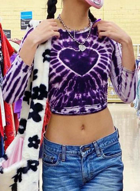 Purple Women's T-shirts Tiedye Long Sleeve Round Neck Daily Cropped T-shirt LC2517169-8