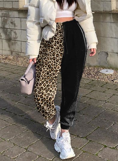 Leopard Women's Joggers Color Block Leopard Straight High Waist Full Length Pocket Casual Daily Joggers LC771809-20
