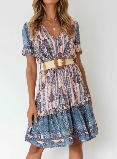 Blue Women's Dresses Floral Tribal Belt-up Short Sleeve V Neck Knee Length Dress LC225745-5