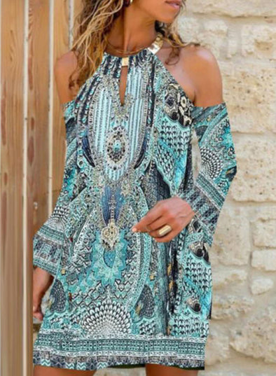 Sky Blue Women's Mini Dresses Geometric Tropical Cold Shoulder Boho Dress LC225895-4