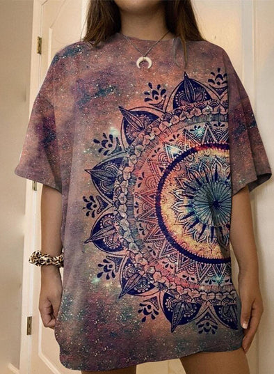 Brown Women's T-shirts Loose Tiedye Mandala T-shirt LC2527359-17