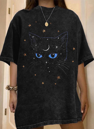 Black Women's T-shirts Cat Print Oversiezd T-shirt LC2527372-2