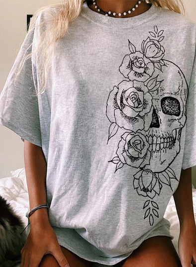 Gray Women's T-shirts Rose Floral Print Loose T-shirt LC2527408-11