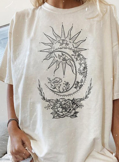 White Women's T-shirts Moon Sun Rose Print Oversized T-shirt LC2527410-1