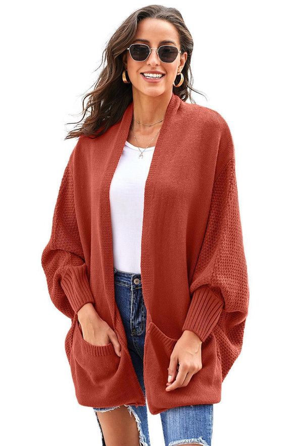 Women's Cardigans Patch Pockets Batwing Sleeve Cardigan