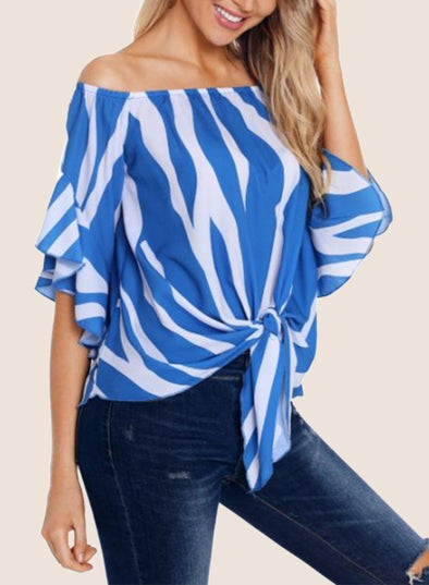 Off The Shoulder Vertical Stripes Blouse